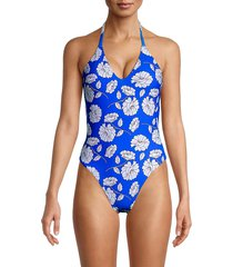 petal and sea by pq women's floral knotted-back one-piece swimsuit - blue white - size l