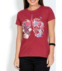blusa modapop t-shirt estampada vermelha - rosa/vermelho - feminino - algodã£o - dafiti