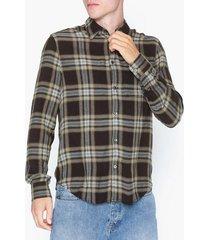 whyred mills flannel check skjortor brown