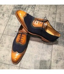 handmade wing tip oxford shoes navy tan formal dress tuxedo leather shoes men