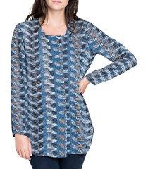 nic+zoe women's printed long-sleeve top - size xs