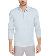 alfani men's alfatech stretch solid long sleeve polo shirt, created for macy's