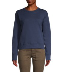 three dots women's plush terry sweatshirt - night iris - size l