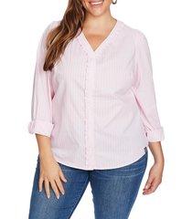 plus size women's court & rowe ruffle trim stripe blouse