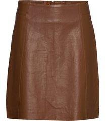 taracr leather skirt knälång kjol brun cream