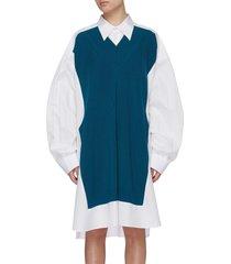 knit panel oversized shirt dress