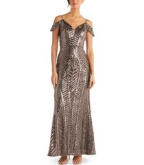 nightway sequin cold-shoulder gown