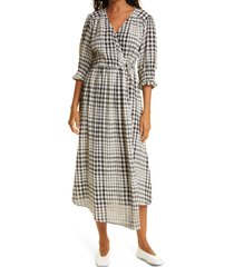 apiece apart lucinda plaid cotton wrap midi dress, size x-large at nordstrom