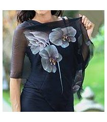 hand painted silk shawl, 'midnight orchid' (indonesia)