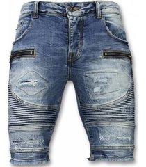 korte broek enos korte broeken - slim fit ripped biker shorts -
