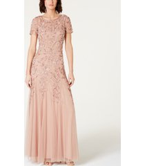 adrianna papell floral-beaded gown