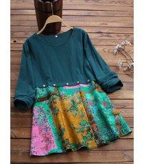 camicetta a maniche lunghe o-collo stampa floreale casual patchwork vintage