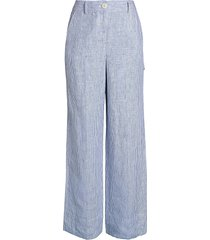 theory women's striped linen wide-leg carpenter pants - blue white - size 00