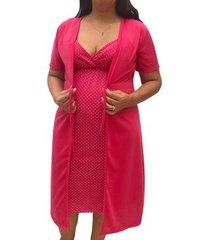 conjunto camisola de alcinha amamentação com robe maternidade linda gestante