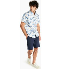 dkny men's cooper classic-fit stretch camouflage grid twill shirt, created for macy's