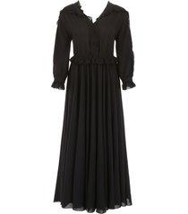bottega veneta long ruffled dress