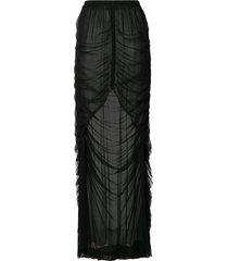 vera wang ruched sheer silk skirt - black