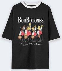 camiseta negra rockgota oversize unisex borbotones negra