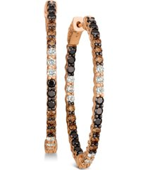 le vian chocolate layer cake blackberry diamonds, chocolate diamonds & nude diamonds in & out hoop earrings (2-9/10 ct. t.w.) in 14k rose gold