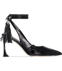 liudmila ankle-tie mid-heel pumps - black