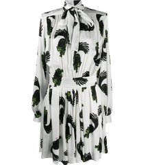 msgm cat print pussy-bow shirt dress - white