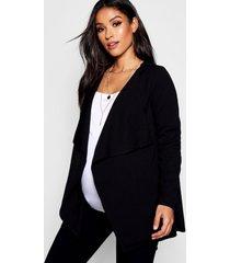 zwangerschaps jas met waterval kraag, black