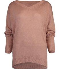 powder pink paillette v-neck pullover sweater