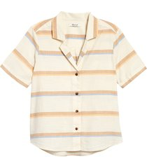women's madewell stripe camp shirt, size xx-small - beige