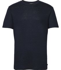 coma linen t-shirt t-shirts short-sleeved blå j. lindeberg