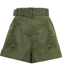 self-portrait green cotton shorts with embroidered design
