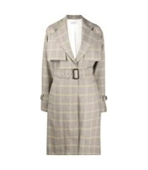 victoria beckham trench coat com estampa xadrez - neutro