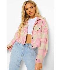 geruite nepwollen trucker jas, pink