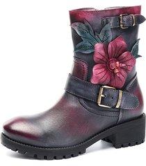 socofy stivaletti alla caviglia in pelle a manufatto con fiore con fibbia