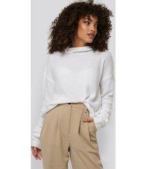 na-kd thin plain knit turtlneck sweater - white