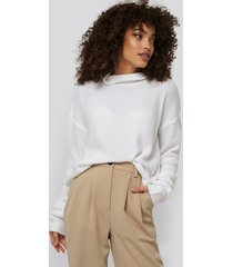 na-kd trend thin plain knit turtlneck sweater - white