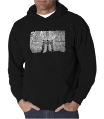 la pop art men's word art hoodie - brooklyn bridge