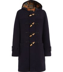 burberry vintage check detail wool blend hooded duffle coat - blue