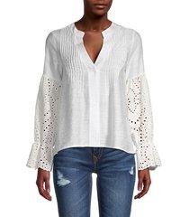 stellah women's eyelet-sleeve blouse - black - size s