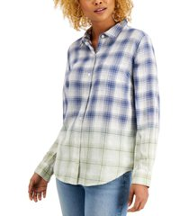 style & co petite ombre plaid button-front shirt, created for macy's