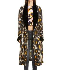 women's r13 leopard print velvet trim robe jacket, size small - black