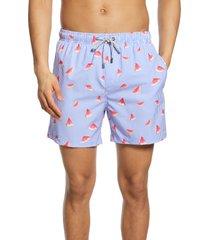 men's vintage summer watermelon swim trunks, size small - blue