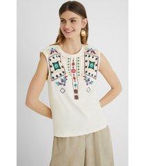 sleeveless t-shirt embroidered - white - xl