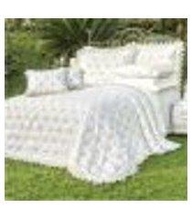 jogo de cama king bordado 400 fios sensualle branco vilela enxovais 4 peças