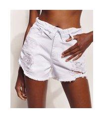 short de sarja feminino hype beachwear cintura alta destroyed com cós virado branco