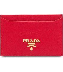prada logo-plaque square cardholder - red