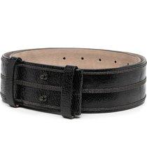 brunello cucinelli cracked waist belt - black