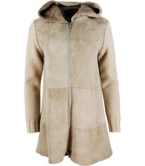 lorena antoniazzi shearling sheepskin coat and sweater with hood and zip closure