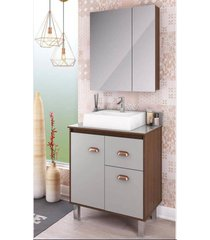 gabinete para banheiro 65cm com cesto roupa lilies mã³veis - azul/marrom/multicolorido - dafiti