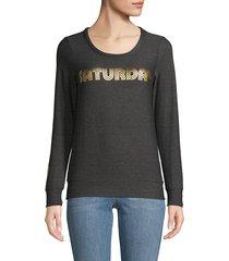 chaser women's graphic roundneck sweatshirt - black - size s