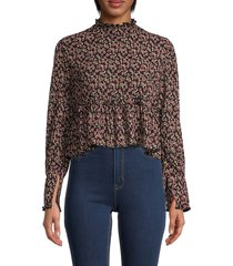 cistar new york women's floral long-sleeve crop top - black multi - size m